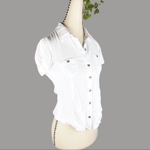 Guess White Button Up Shirt Ribbed Tee Side Panel
